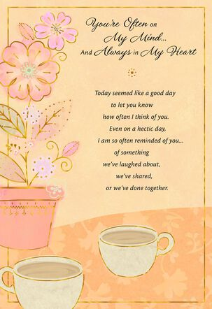 Flower Pot and Tea Cups Thinking of You Card