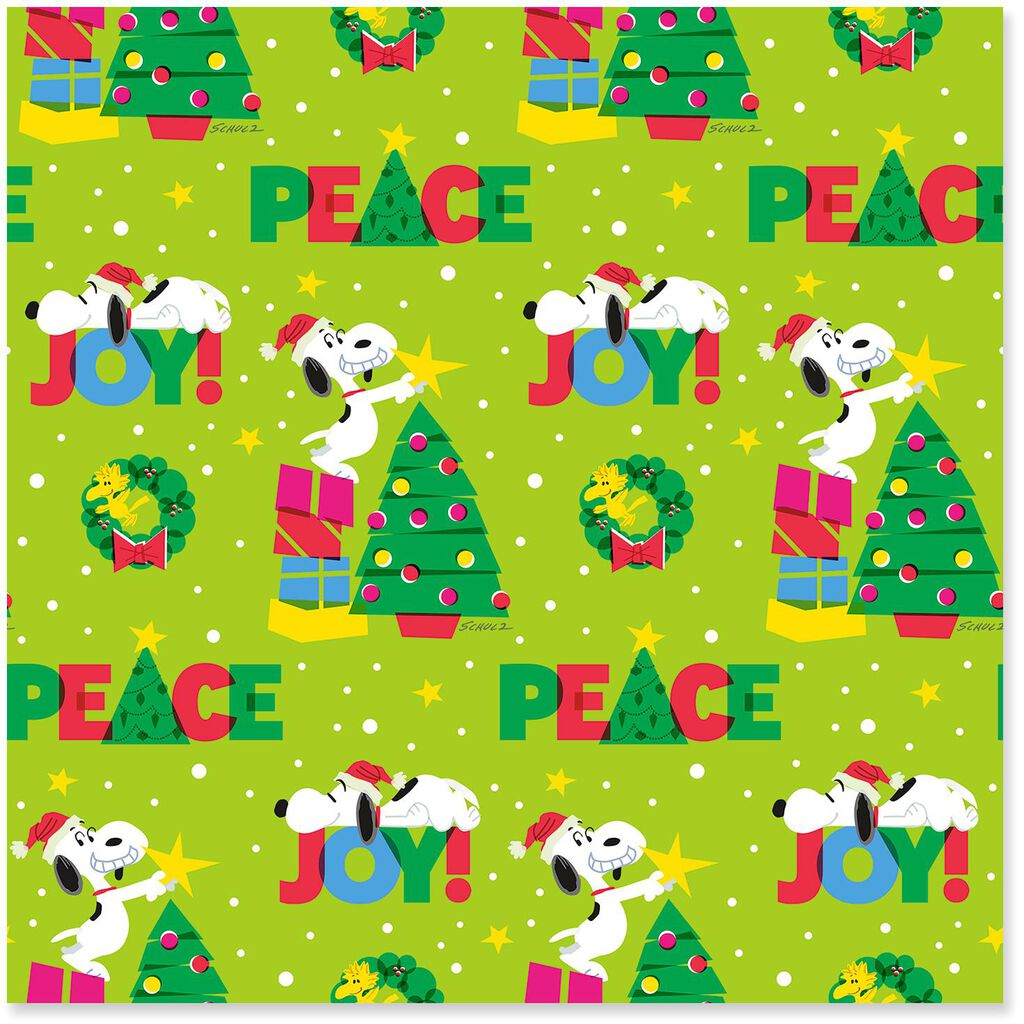 Christmas Snoopy.Peanuts Snoopy Peace Joy Jumbo Christmas Wrapping Paper Roll 80 Sq Ft