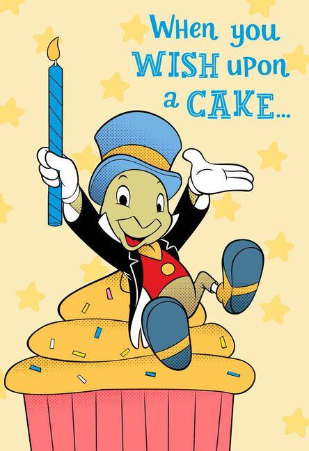Disney Jiminy Cricket Wish Upon A Cake Birthday Card Greeting