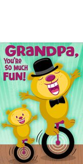 Unicycle Bears Grandparents Day Card for Grandpa,