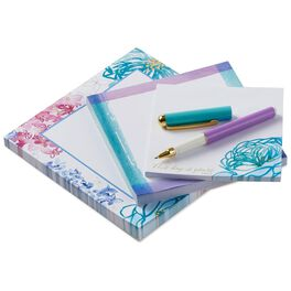 Watercolor Blooms Memo Pads With Pen, Set of 3, , large