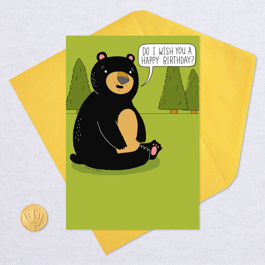 Does A Bear Crap In The Woods Funny Birthday Card Greeting Cards