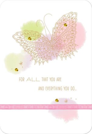 Pastel Butterfly Thank You Mother's Day Card for Special Woman