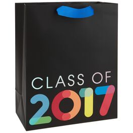 "Multicolor Class of 2017 on Black Large Gift Bag, 13"", , large"