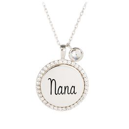 "Engraved ""Nana"" Necklace in Sterling Silver, , large"