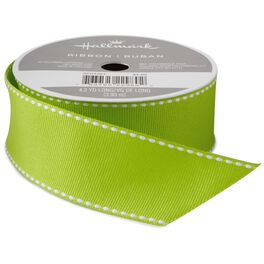 "Chartreuse Saddle Stitch 1 1/4"" Grosgrain Ribbon, 4.3 yards, , large"