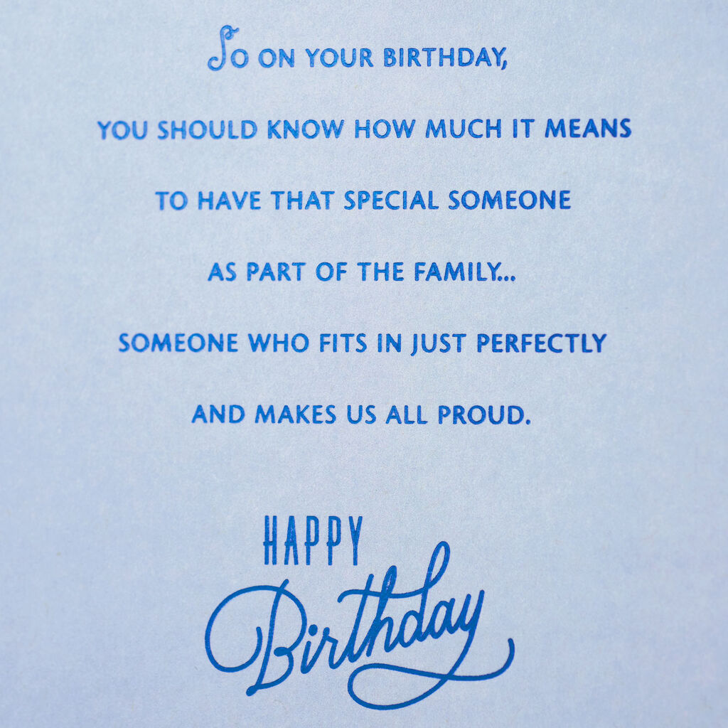 Perfect Family Fit Birthday Card For Son In Law