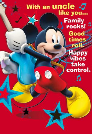 Mickey Mouse Rockin' Father's Day Card for Uncle