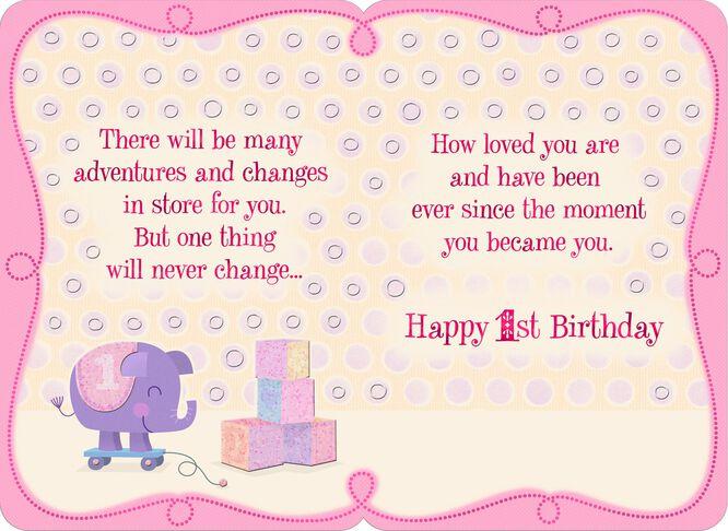 Pink Kitten 1st Birthday Card for Daughter Greeting Cards Hallmark – Happy Birthday Cards for Daughter