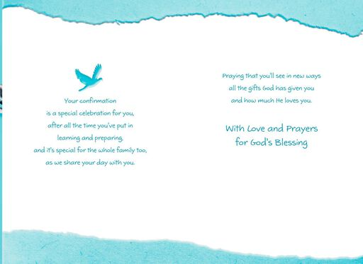 Foil Cross on Blue Background Confirmation Card for Son,