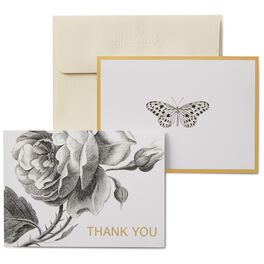 Black and White Butterfly and Roses Thank You Notes, Box of 50, , large