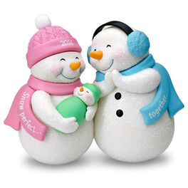 New Parents and Baby Snowmen Ornament, , large