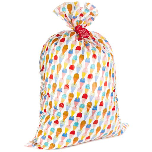 Birthday Ice Cream Plastic Giant Gift Bag With Tag And Tie 56