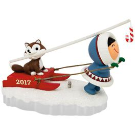 Frosty Friends Dog Sled Ornament, , large