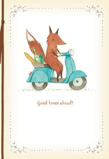 Fox on Scooter Good Times Ahead Retirement Card,