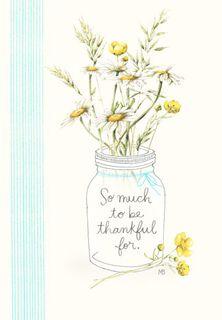Marjolein Bastin Wildflowers in Jar Thank-You Card,