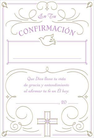 Purple Certificate Religious Spanish-Language Confirmation Card