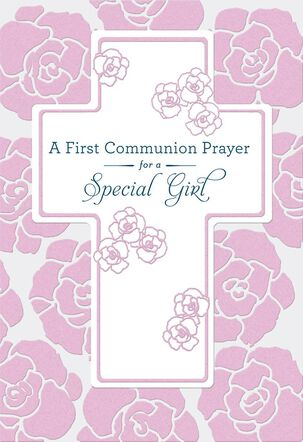 Cross and Pink Flowers First Communion Card for Girl