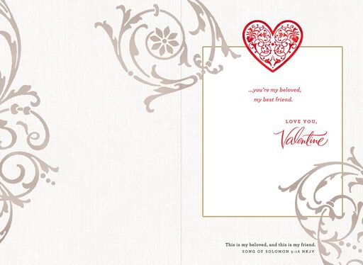 Lace Hearts Religious Valentine's Day Card for Wife,
