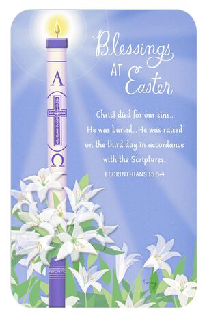 Paschal Candle and White Lily Religious Easter Card