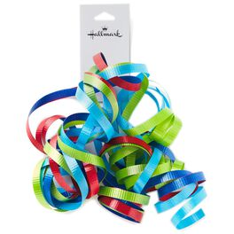 Green, Blue and Red Curly Ribbon Gift Bow, , large