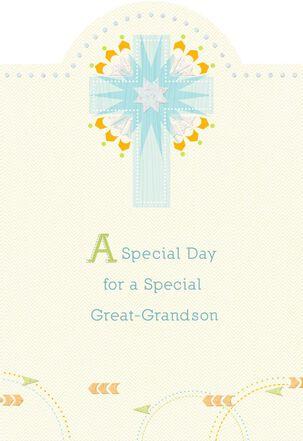 Blue Starburst Cross First Communion Card for Great-Grandson