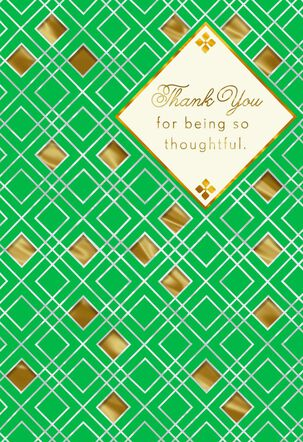Green and Gold Diamonds Thank You Card