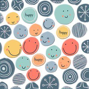 Happy Smiley Faces Birthday Card