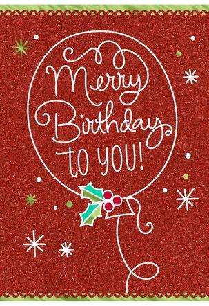 Merry Birthday December 25th Birthday Christmas Card