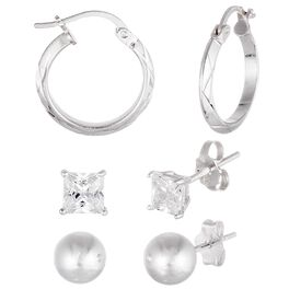 Hoops, Silver Ball and Cubic Zirconia Stud Earring Set in Sterling Silver, Set of 3, , large