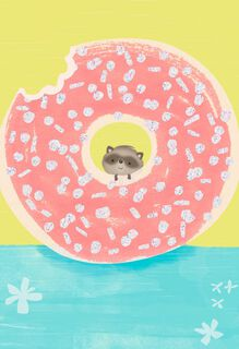 Raccoon in Doughnut Blank Card,