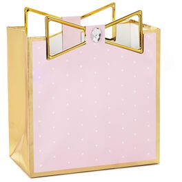 "Pink With Gold Trim Medium Square Gift Bag, 7.75"", , large"