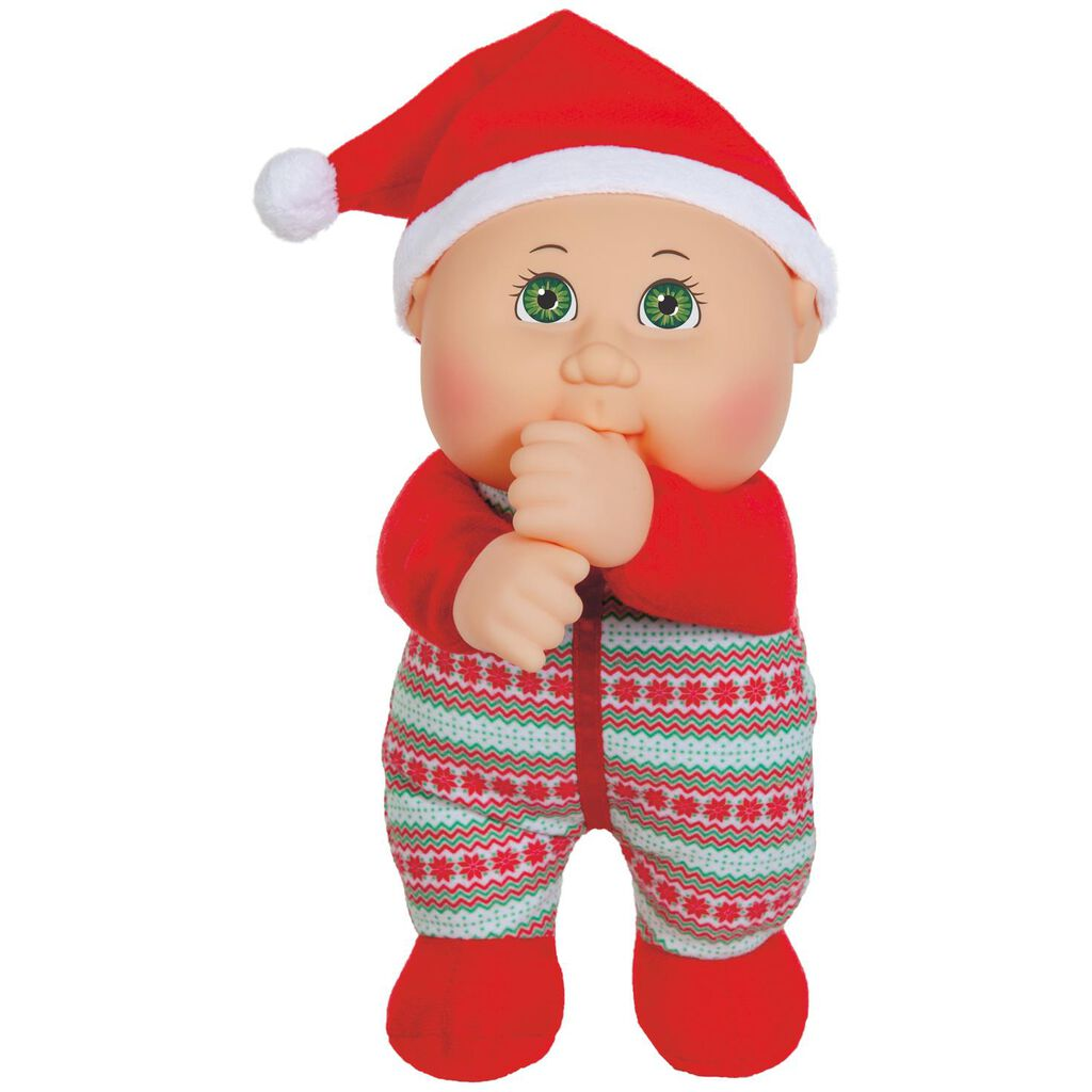 cabbage patch kids red christmas pjs holiday helper cuties doll, 9