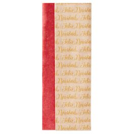 Scarlet Red and Feliz Navidad 2-Pack Tissue Paper, 6 Sheets, , large