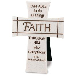 Faith Stone Cross - Philippians 4:13, , large