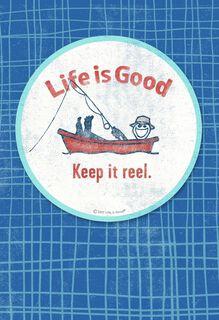 Life is Good® Fishing Coaster Birthday Card,