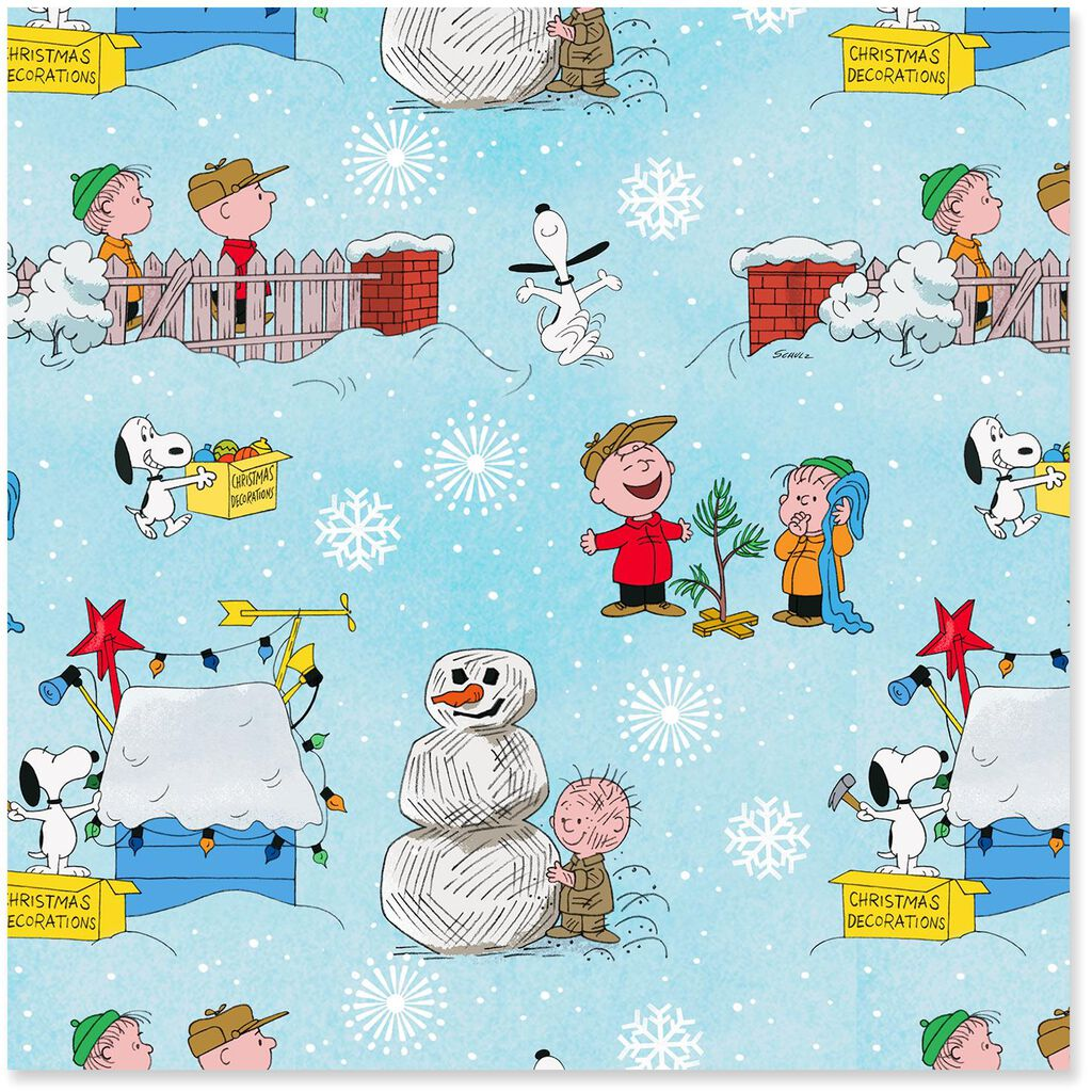 Peanuts® A Charlie Brown Christmas on Blue Christmas Wrapping Paper Roll,  30 sq  ft