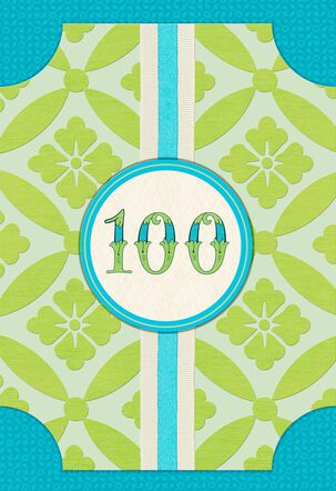 Floral Pattern 100th Birthday Card