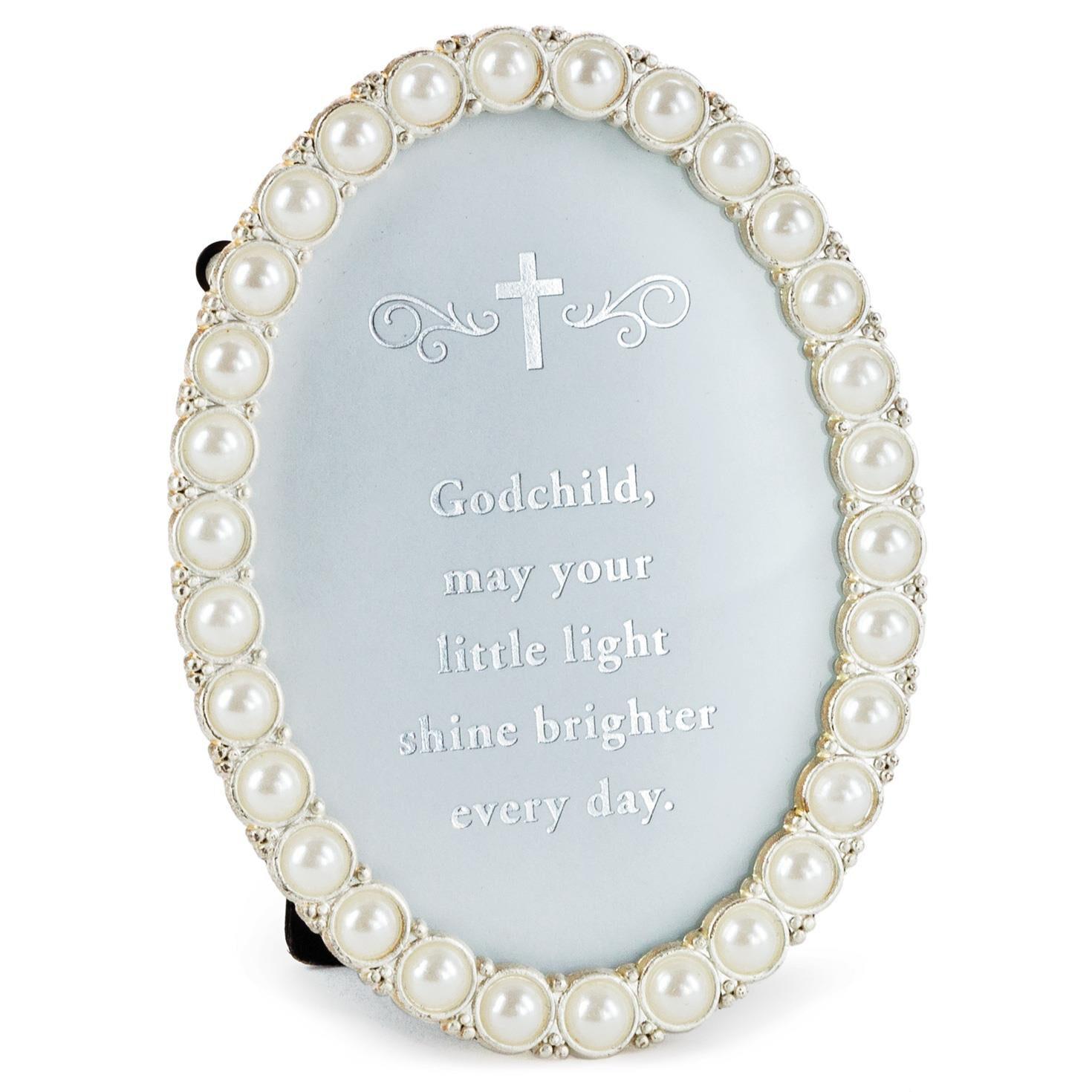 shine brighter godchild baptism message in faux pearl frame decorative accessories hallmark