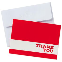 White Stripe on Red Thank You Notes, Box of 24, , large