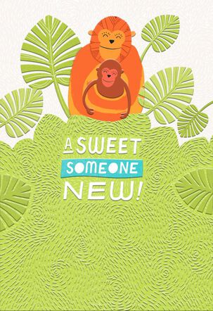Mama and Baby Monkey New Baby Card