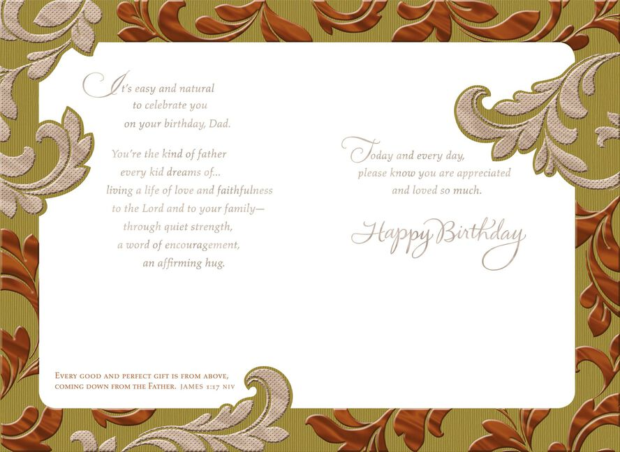 Embossed Foil Leaves Religious Birthday Card For Dad Greeting