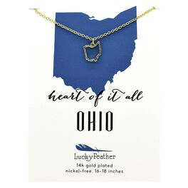 State of Ohio Necklace in 14k Yellow Gold-Plate, , large