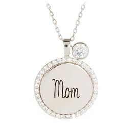 "Engraved ""Mom"" Necklace in Sterling Silver, , large"