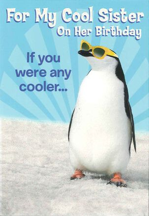 Chill Out Penguin Birthday Card for Sister