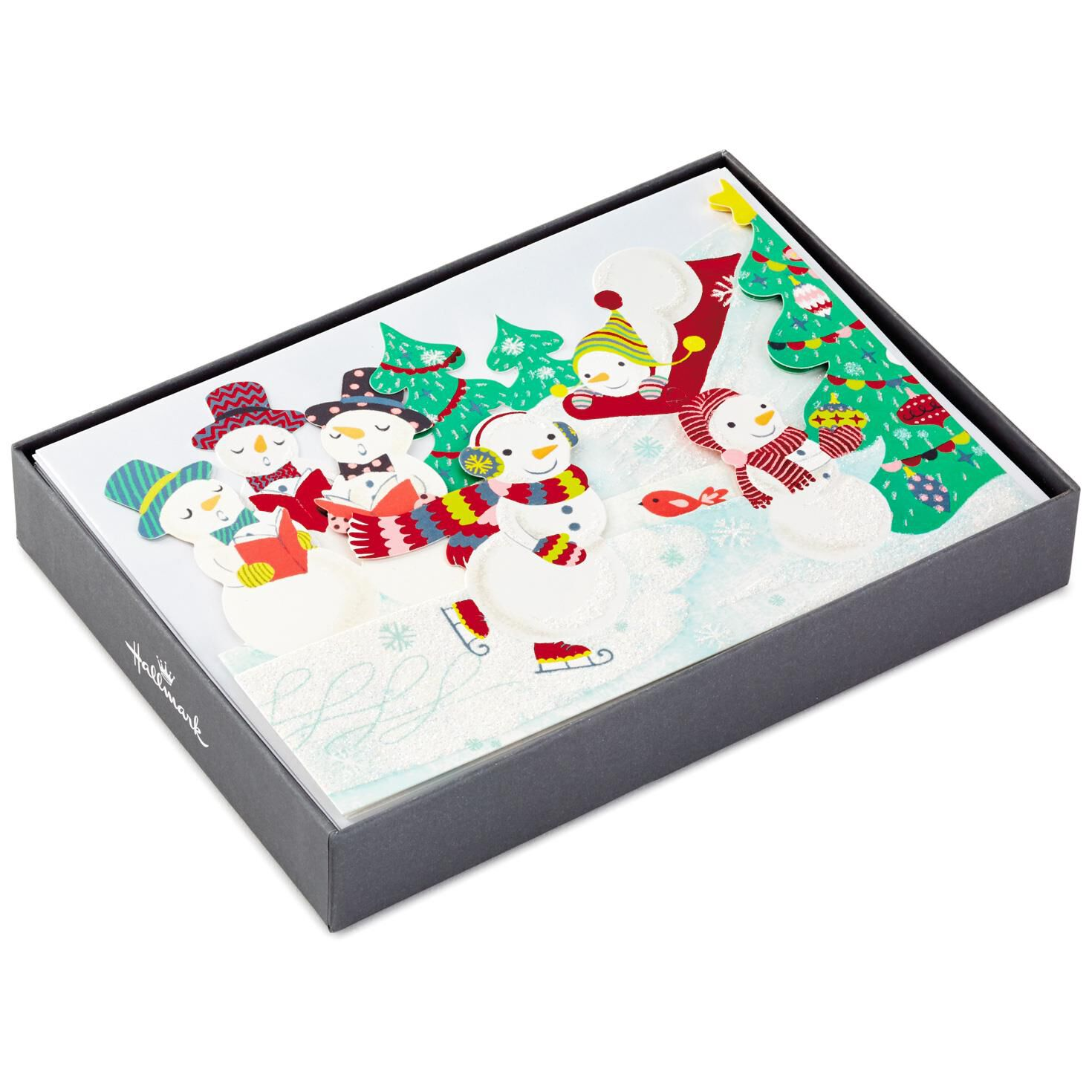 snowman fun tri fold christmas cards box of 12 boxed cards hallmark - Tri Fold Christmas Cards