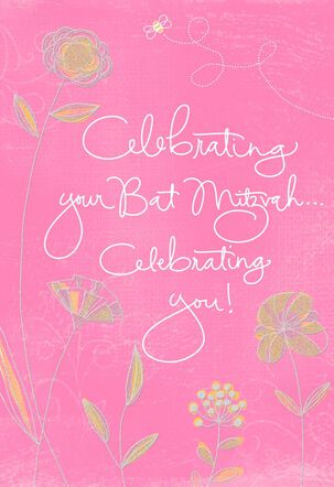 Pink Flowers Bat Mitzvah Congratulations Card