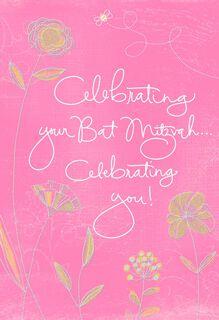 Pink Flowers Bat Mitzvah Congratulations Card,