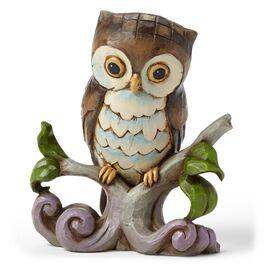 Jim Shore Mini Owl on Branch Figurine, , large