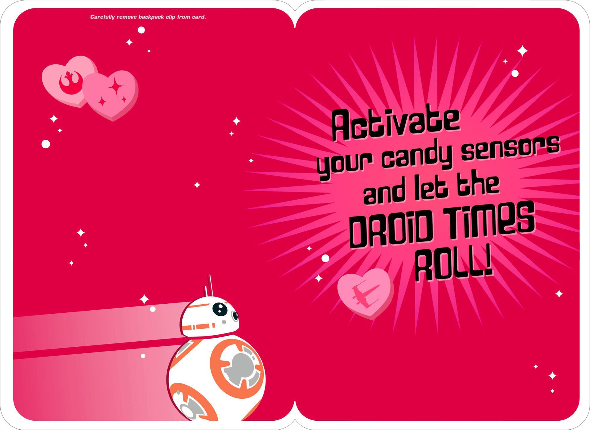 Star Wars™ BB 8™ Droid Jokes Valentineu0027s Day Card With Backpack Clip
